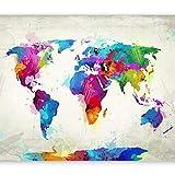 murando - Weltkarte 200x140 cm XXL-Wandbild auf Vliesleinwand! Großformat Poster Wanddekoration - Fototapete - Tapete - Bild - Bilder - Karte Kontinente worldmap k-C-0075-a-a