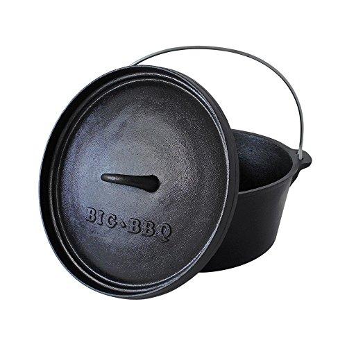 ToCis Big BBQ Classic Dutch Oven 6.0 Gusseisen eingebrannt 12er Kochtopf mit Deckelheber Deckelständer ohne Füße
