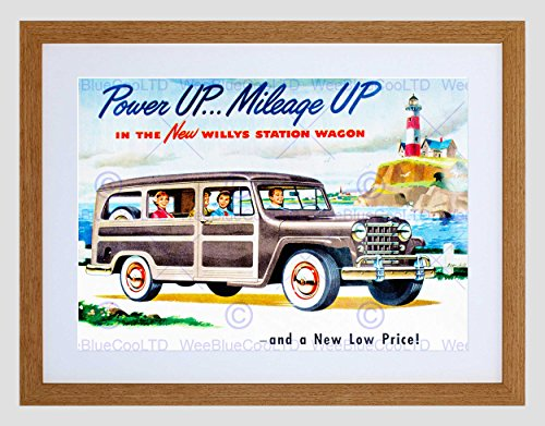 AD CAR AUTOMOBILE WILLYS STATION WAGON ESTATE LIGHTHOUSE ART PRINT B12X10215 (Fine Estate Art)