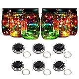 Sunlane 6 Pack Solar Mason Jar Lights, 10 Led String Fairy Firefly Lights Lids Insert for Regular Mouth Jars, Mason Jar,Patio,Lawn,Garden Decor (Colorful-Steady)