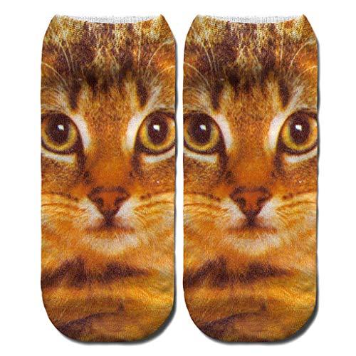 Yearnly Sneaker Socken Damen Sport Socken aus Baumwolle Süß Tier Karikatur Cat Socken Lässige Läufen Schule Socken Lustig Kawaii Socken Neuheit Crew Socken für Herren