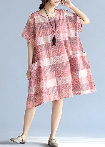 ELLAZHU Damen Baggy Rundhals Tasche Karo Gedruckt Fledermaus Baumwolle Kleid GA761 Red