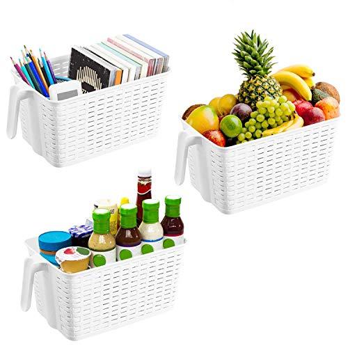 Kühlschrank Aufbewahrungskorb (3er Set) - Kunststoff Organizer Aufbewahrungs Korb mit Henkel für Speisekammer, Küchen, Büro, Schrank, Regalen (L 33 x W 19.5 x H 14.5 cm) (Schrank Küche Speisekammer)