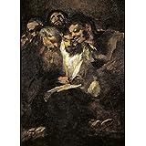 La demonología, magia, ocultismo y magia de los hombres de la lectura, o políticos, de las pinturas negras de Francisco de Goya c1819-23 250gsm A3 brillante tarjeta del arte cartel de la reproducción