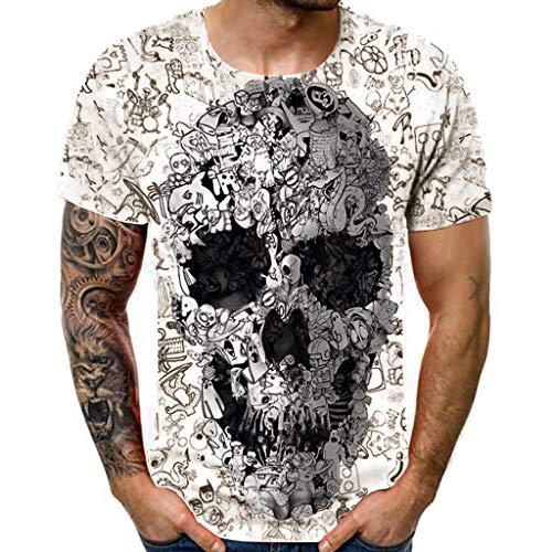 Herren Neues Sommer T-Shirt Mit Rundhalsausschnitt Und Kurzarm Totenkopf Mit 3D Aufdruck