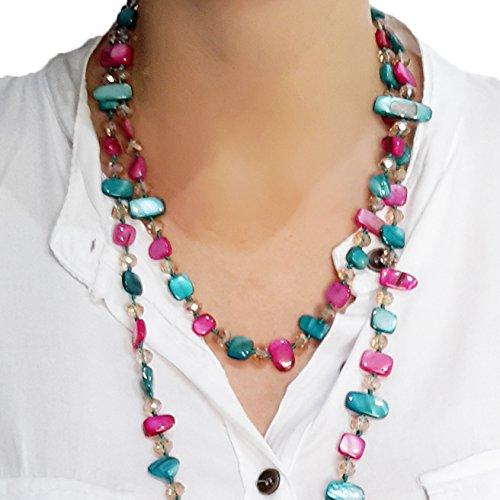 Halskette Damen Bijouterie Modeschmuck Perlmuttkette mit Perlmutt und Kristall Perlen, Als Kurze Kette oder Lange Kette zu Tragen - Pink (Von Modeschmuck Das Tragen)