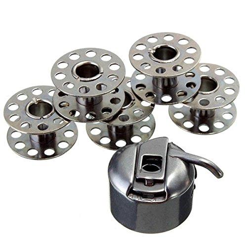 Ology(R)- Acciaio Inossidabile macchina da cucire Accessori 5 bobine 1 bobina caso per fratello cantante Toyata