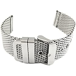 MapofBeauty Fashion Unisex Thick Mesh Steel Watch Band Strap Bracelet Pin Buckle Silver-24mm