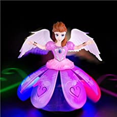 Toykart Plastic Dancing Angel Girl Robot with 3D Lights and Music (Multicolour, TK-Angel-Doll)