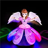 Toykart Plastic Dancing Angel Girl Robot Doll with 3D Lights and Music (Multicolour)