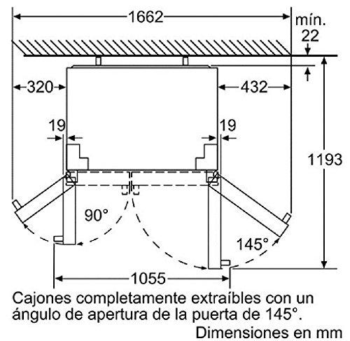 Balay 3FA4660X Independiente 622L A+ Gris, Acero inoxidable nevera puerta lado a lado - Frigorífico side-by-side (Independiente, Gris, Acero inoxidable, Puerta americana, LED, Vidrio, 622 L)