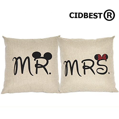 *CIDBEST® Mr Mrs Kissenbezüge Liebhaber Hochzeit Kissen retro Baumwolle Kissen Buch Hochzeitsgeschenk Kaffee zuruck hotel Kissenbezug*