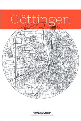 Poster 61 x 91 cm: Göttingen Karte Kreis von Campus Graphics - hochwertiger Kunstdruck, neues Kunstposter