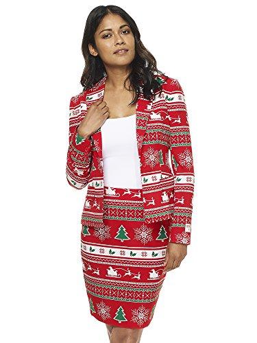 (Opposuits Weihnachtsanzüge für Frauen Besteht aus Sakko und Rock)