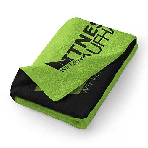 Fitness Handtuch Trainingshandtuch Sporthandtuch Grün/Schwarz 100x50cm towel (100% Baumwolle) Fitnesskaufhaus.de
