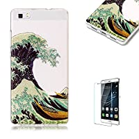 For Huawei P8 Lite Sparkly Sequins soft TPU+IMD Case. Brilliant lovely Colored Drawing Parttern Lightweight Ultra Slim Anti Scratch Transparent Soft Gel Silicone TPU Bumper Protective Case Cover Shell for Huawei P8 Lite - Spindrift