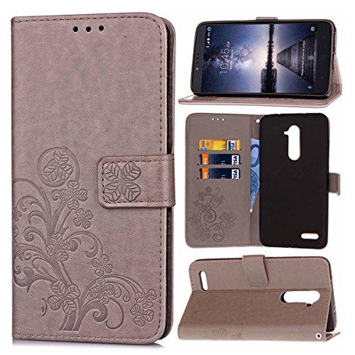 Guran® PU Ledertasche Case für ZTE Zmax Pro Z981 Smartphone Flip Cover Brieftasche und Stent Funktionen Hülle Glücksklee Muster Design Schutzhülle - Grau