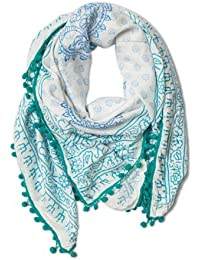 Woca Designs Mantra Blue Pom Pom Hand Block Print 100% Rayon And Self Designed Super Soft & Stylish Scarf/Scarves...