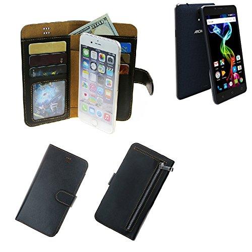 K-S-Trade Für Archos 55b Platinum Schutz Hülle Portemonnaie Case Phone Cover Slim Klapphülle Handytasche Schutzhülle Handyhülle schwarz aus Kunstleder (1 STK)