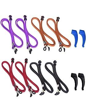 YuCool - Juego de 8 correas para gafas, 4 colores, piel sintética, antideslizante, con 2 ganchos para las orejas...
