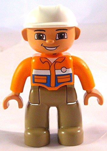 Lego Duplo Bauarbeiter - oranges Hemd - weißer Helm
