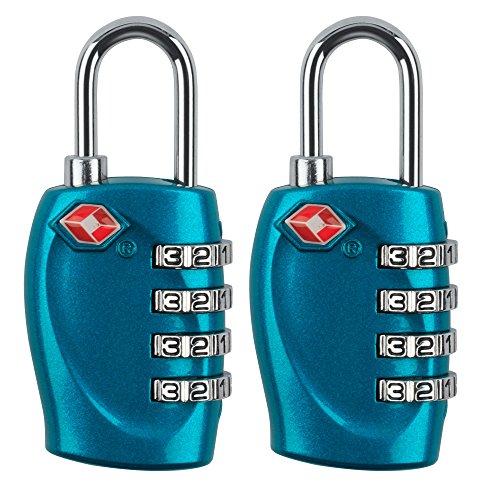 MIDWEC Nouvelle Version Lot de 2 Cadenas de Sécurité à Combinaison de 4 Chiffres Cadenas a Code pour Valise Bagages Approuvé par la TSA (Bleu)