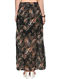 Abof Women Black Printed Maxi Skirt