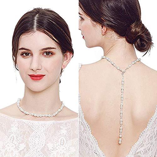 Bridal Hintergrund Halskette, Diamant Perle Anhänger Quaste Zurück Körper Kette, Hochzeit Schmuck Rückenfreies Kleid Zubehör - Stil C