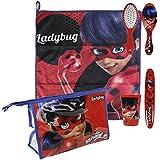 Set bolso neceser comedor Ladybug toalla,cepillo,cepillo dientes,vaso