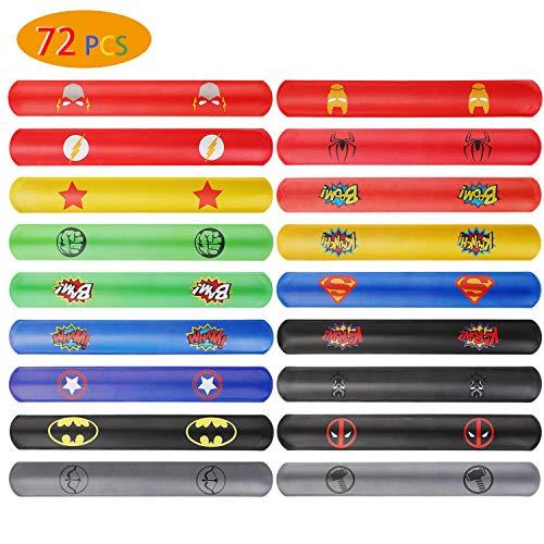 Kostüm Jugendliche Superhelden Für - Ucradle Superhero Snap armbänder - 72 Stück Schnapparmbänder, Perfektes Superhelden Slap Bands Kindergeburtstag Spielzeug für Jungen, Schnapparmband, Klatscharmband, Mitgebsel für Kinder und Mädchen