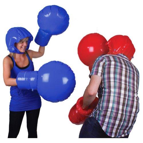 Tobar Spaß-Spiel Spiele Übergröße Riese Aufblasbar Handschuhe Helme Rot Blau Boxhandschuhe Set