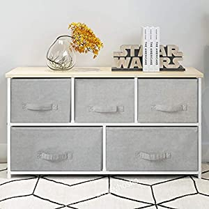QIHANG-UK Bedroom Wardrobe Dresser Low Chest of Drawers Cabinet Fabric Nursery Storage Organizer Unit with 5 Drawers Storage Box for Children Toys Clothes Home Furniture Hallway 100 * 29*H55cm(7003)   11