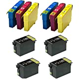 COMBO PACK - Compatible 27XL Ink Cartridges for Use with Epson WorkForce WF-3620dwf, WF-3640dtwf, WF-7110dtw, WF-7610dwf, WF-7620dtwf Printers - T2711-T2714 TWO SETS PLUS TWO T2711 BLACKS (NON OEM)