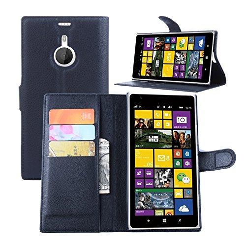 Tasche für Nokia Lumia 1520 Hülle, Ycloud PU Ledertasche Flip Cover Wallet Case Handyhülle mit Stand Function Credit Card Slots Bookstyle Purse Design schwarz