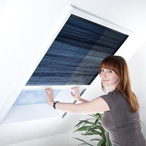 Fliegengitter Plissee für Dachfenster - Insektenschutz - Dachfensterplissee - 80 x 160 cm | weißer Rahmen