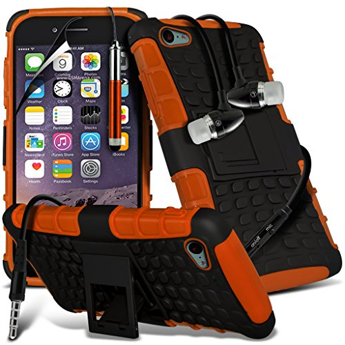 Fone-Case Orange Apple iPhone 6S étui Cover Case Choc couverture double couche absorbante avec l'option de se tenir debout, y compris 1 Protecteur d'écran et 1 code couleur aluminium réglable Pen & 1  Armour Protection Case + Aluminium Earphone Orange