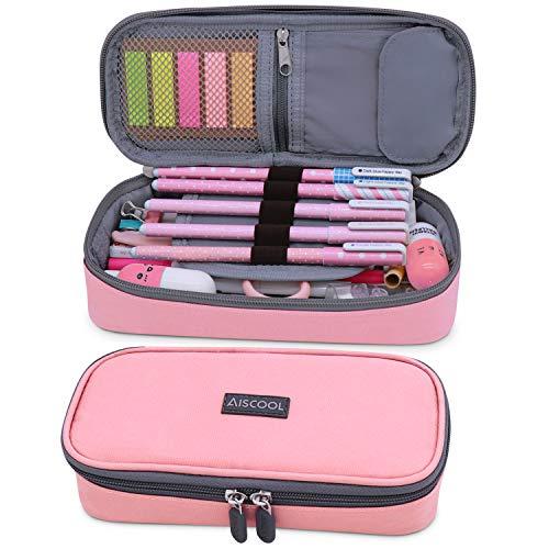 Aiscool Federmäppchen Mädchen Große Mäppchen Bleistiftbeutel mit Reißverschluss für Schule Büro Teenager Erwachsene (Rosa) 21.5X10X6cm