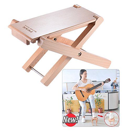ammoon foldable wood guitar footrest, stool, pedal, 4-way adjustable height, beech wood material