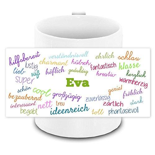 Tasse mit Namen Eva und positiven Eigenschaften in Schreibschrift, weiss | Freundschafts-Tasse - Namens-Tasse