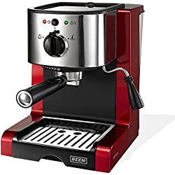 BEEM 02051 Espresso Perfect (Verbesserte Version 2017!) | Espressomaschine für Pulver & Pads (1350 Watt, 15 bar) | Espresso, Cappuccino, Latte Macchiato, XXL-Crema, Kaffee Lungo | Brillantrot