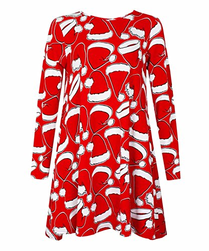 Comfiestyle - Robe - Patineuse - Manches Longues - Femme Red & White Hat