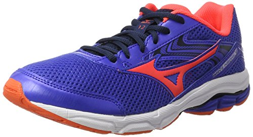 Mizuno Wave Inspire 12 Jr, Chaussures de Running Compétition fille - Bleu - Blue (Dazzling Blue/Fiery Coral/Dress Blues), 38.5