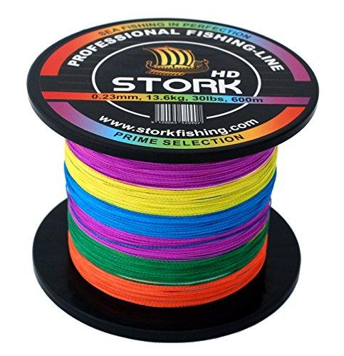 Stork HD, 4-hilo trenzado pesca 600m (Multicolor, 50 lbs / 22.7 kg / 0.34 mm)