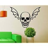 "Wall Decal XXL Skull Bat Wings Gothic Sticker 5O113 - Yellow Gloss, 7.87"""