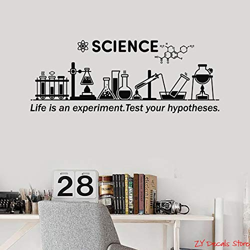 WWYJN Vinyl Wall Decal Science Inspire Chemical Lab School Classroom Decor Stickers Mural Removable Art Mural for Living Room red 30x75cm