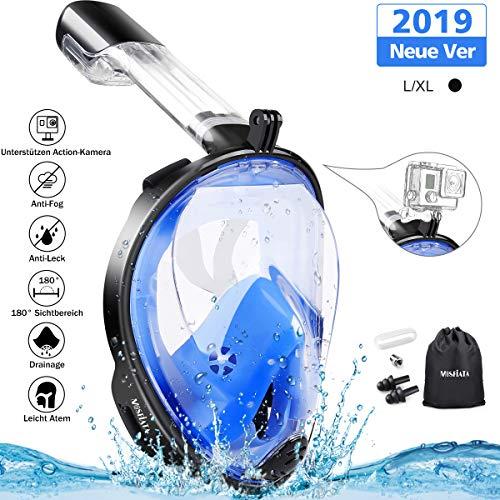 MOSFiATA Tauchmaske Vollmaske Schnorchelmaske Tauchermaske Anti-Fog Anti-Leck durch Dual-Belüftungsschlauch mit 180° Blickfeld Silikon-Dichtung Mühelos Atmen Kompatibel für Erwachsene (L/XL)