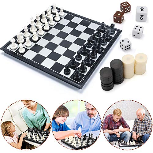 Muscccm Juego de Ajedrez, Tablero de ajedrez 3 en 1 Magnético de Viaje con Portátil de Tablero Plegable para Niños y Adultos(31.5CM x 31.5CM)
