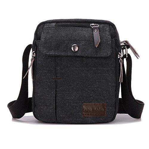 Herren-Umhängetasche, super-modern, klein, Vintage, Leinen, Messenger-Tasche, langlebig, viele Fächer, Herren, schwarz, S (Body Tasche Sling)