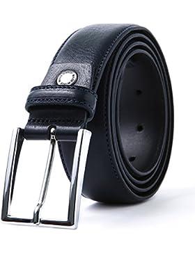 LUCHENGYI Cinturón Cuero Hombre en Azul Oscuro con Pespuntes Piel Auténtica Italiana de Granos de 35mm