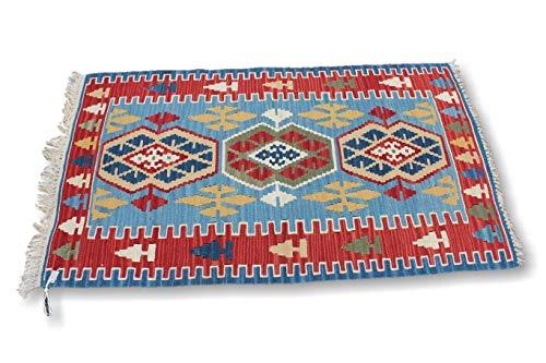 nHandmade Rug Store Kleine türkische Teppich, 60 x 140 cm, Rot/Gelb/Blau, Bohemianischer Teppich, rustikaler geometrischer Wolle, Miniteppich -